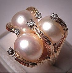 Superb Vintage 10mm Pearl Diamond Ring Designer Jewelry