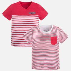 Camisetas niño manga corta a rayas Sandía - Mayoral