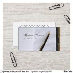 Shop Copywriter Notebook Pen Business Card created by LosCrazyAvocados. Consultant Business, Copywriter, Professional Business Cards, Positive Vibes, Things To Come, Notebook, How To Make, Prints, The Notebook