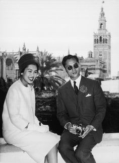 King Bhumibol Adulyadej and his wife Queen Sirikit pictured in Seville, Spain during their 1960 world tour.