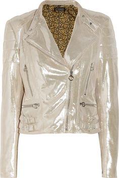 Versace | Metallic brushed-leather biker jacket | NET-A-PORTER.COM
