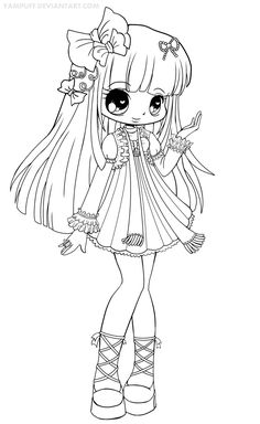 Chibis - Free Chibi Coloring Pages Chibi Coloring Pages, Colouring Pics, Coloring Book Pages, Printable Coloring Pages, Free Coloring, Coloring Pages For Kids, Colorful Drawings, Digi Stamps, Copics