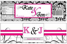 Water Bottle Labels - wedding black custom damask diy hot pink labels pink water bottle labels