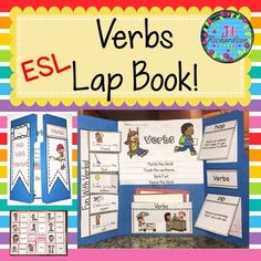 Help make your English Language Learners transition into your classroom easier by learning verbs vocabulary!  This resource can be used for making a lap book or as an interactive notebook! Great ESL Activities to help your children learn English!TAKE A PREVIEW PEEK!Includes:CoverFlip book of VerbsFlap book of Fun With Verbs32 body parts vocabulary and picturesFlaps for 2 questionsBoard gameJill Richardson 2016Click here to Follow me on…