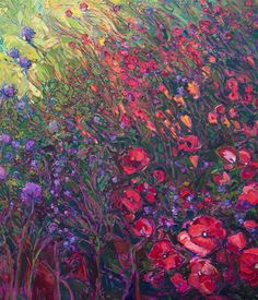 Closeup of mural-sized oil painting in florals, by Erin Hanson.