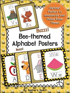 Bee Themed Alphabet Posters. Cute bee-themed Alphabet Posters! This set of alphabet posters matches the 'Buzzy Bees' Deluxe Room Theme. • 26 letters of the alphabet in poster format. • A second copy of the vowels with text in red - a visual aid to help learners remember the vowels. • An alternate version for q. • An alternate version of x - as an end sound.  The posters also have 'Print Helper' text with arrows and numbers - this is useful if you decide to make a workbook.