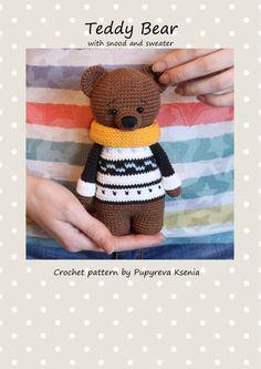 Teddy Bear PATTERN - crochet animal pattern - amigurumi pattern - crochet teddy bear pattern