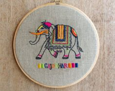 Elephant Embroidery Hoop, linen with bright colors, Indian, wall art