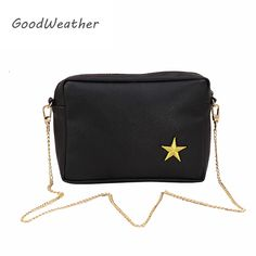 Promotion messenger bag women fashion small chain shoulder bag with  embroidery star leather female bag lady black zipper handbag-in Crossbody  Bags from ... f9d4f12de177c