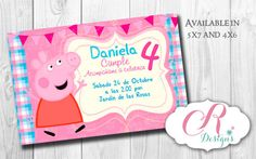 Digital Personalizated Invitation peppa theme por SweetDesignsCR