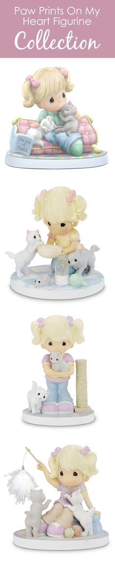 Celebrate the warmth and love kittens bring with these Precious Moments cat figurines.