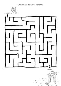 Free Online Printable Kids Games - Lost Puppy Maze