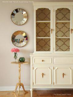 DIY Painted Cabinet Hutch - Moorish Trellis Furnitrue Stencils by Royal Design Studio