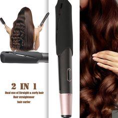 2 in 1 Salon One-Step Haarglätter Glätteisen Lockenstab Keramik Straightener