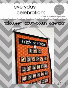 Halloween Countdown Calendar  PDF Pattern by EverydayCelebrations, $8.50