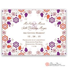 McKenzie wedding invite by RoseyMae Wedding Invitation. Whimsical Wedding Invitations, Fire Hall, Orange Color Palettes, Wedding Paper, Paper Design, Invites, Getting Married, Reception, Collections