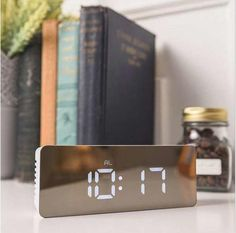 M.Sparkling Mirror Desk Clock Muti Function Digital Alarm Clocks Led Make Up Mirror Watches Home Decortaions Christmas Gifts