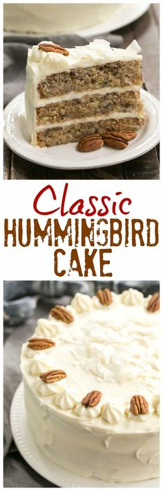 Classic Hummingbird Cake with Coconut | A dense, banana cake chock full of pecans, coconut and pineapple and slathered in cream cheese frosting! @lizzydo