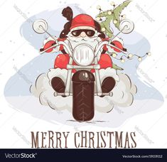 Motorbike Motorcycle Biker Christmas Card Badass Santa In Shades Reindeer Bike!