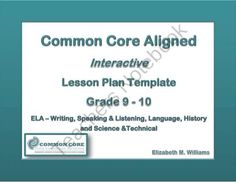 High School ELA templates aligned to the Common Core Standards.  Contains interactive features such as drop down menus and text content control fields to save you time in planning lessons for your high school ELA classes.