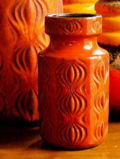Orange Scheurich Amsterdam Vase West German Pottery Onion Mid Century Modern 1970s Retro Boho Home Decor