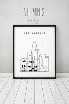 Los Angeles print poster wall art minimalist by ArtPrintsVicky