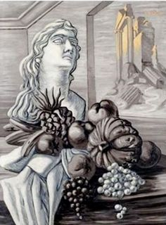 Giorgio de Chirico (Italian, Interno con frutta [Interior with… De Chirico, Giorgio, Artist At Work, 1930s Art, Metaphysical Art, Surrealism, Italian Painters, Artwork, Italian Artist