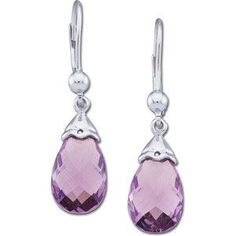 This pair of 14k White Gold Earrings features the most beautiful faceted GENUINE BRIOLETTE AMETHYSTS. The Amethysts are tear drop shaped, well matched, and their Total Weight = 6 CARATS! The Earrings