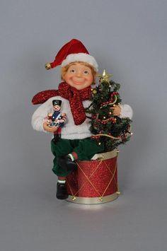 Karen Didion Originals Crakewood Christmas Elf With Drum Gift Tree Display