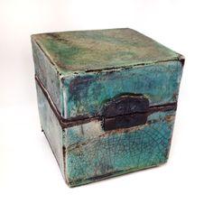 Raku ceramic box, turquoise glaze, Jill E Rosenberg