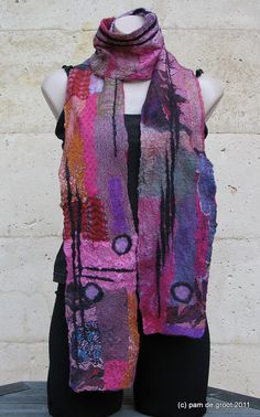 Pink Purple nuno scarf by pamdegroot on Etsy