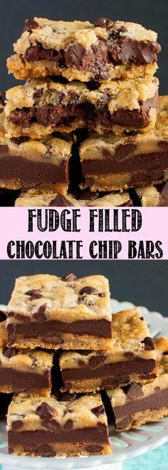 Fudge Stuffed Chocolate Chip Cookie Bars