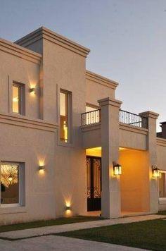 frente (De Parrado Arquitectura) House Outside Design, House Front Design, Modern House Design, Design Exterior, Duplex House, Spanish Style Homes, Facade House, Classic House, House Painting