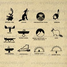 Printable Native American Indian Symbols Digital Download Graphic Image Antique Clip Art. Printable high quality digital image graphic. This vintage digital illustration is great for printing, fabric transfers, t-shirts, and many other uses. Real antique clip art. Great for etsy products. This image is high quality and high resolution at size 8½ x 11 inches. Transparent background version included with all images.