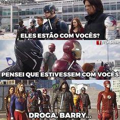 Td culpa do Barry Arrow Flash, Best Memes, Funny Memes, Superhero Memes, Best Hero, English Movies, Supergirl And Flash, Geek Humor, Dc Heroes