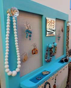Jewelry Holder with Mirror and Shelf, Earring Holder, Necklace Holder , Jewelry Organizer on Etsy, $58.95