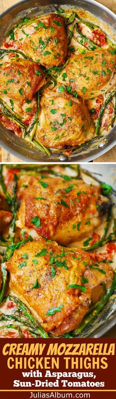 Creamy Mozzarella Chicken Thighs with Asparagus, Sun-Dried Tomatoes. Easy chicken dinner ideas.
