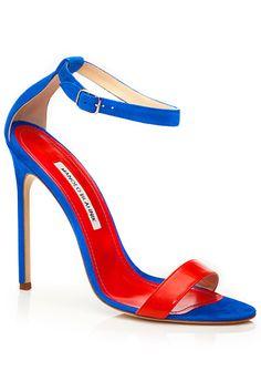 Manolo Blahnik Red & Blue Ankle Strap Sandal Spring 2014 #Manolos #Shoes #Heels