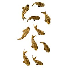 Create an eye-catching collage on your foyer or dining room wall with this organic-chic metal decor, showcasing a koi fish silhouette and glamorous gold leaf. Gold Leaf Design Group, Fish Silhouette, Wall Decor Set, Diy Wall, Dining Room Walls, Living Room, Gold Walls, Joss And Main, Wall Art