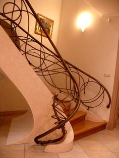 wrought iron stair case, non ferrous metal, art nouveau.