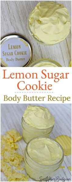 DIY Lemon Sugar Cookie Body Butter – Sweet Nature's Beauty This DIY Lemon Sugar Cookie Body Butter uses essential oils for a dessert like scent. The DIY Lemon Sugar Cookie Body Butter is homemade with natural ingredients great for natural skincare! Body Shop Body Butter, Best Body Butter, Homemade Body Butter, Shea Body Butter, Whipped Body Butter, Homemade Recipe, Lemon Butter, Lemon Sugar Cookies, Butter Cookies Recipe