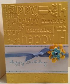by ChelleSnow - Cards and Paper Crafts at Splitcoaststampers: happy birthday folder Handmade Birthday Cards, Happy Birthday Cards, Greeting Cards Handmade, Birthday Greetings, Birthday Wishes, Bday Cards, Embossed Cards, Embossed Paper, Scrapbook Cards