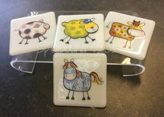 Farmyard Coasters - Pig, Sheep, Cow or Horse Farm Yard, Sheep, Cow, Coasters, Horses, Animals, Animales, Animaux, Coaster