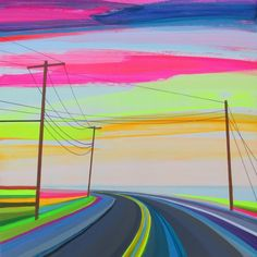 Colorful Roads by Grant Haffner, the Long Island based artist paints prismatic landscapes inspired by long drives on the open highways in his home on East Hampton.