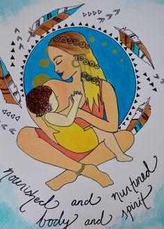 NOURISHED// 8.5 x 11 original art print/ nursing/ breastfeeding art/ mothering art/ gift for new mom/ nursery art/ nursery decor/ by StudioSpiritYSol on Etsy https://www.etsy.com/listing/181323012/nourished-85-x-11-original-art-print