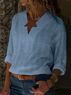 4bbd8c101d Baumwolle V-Ausschnitt Lange Ärmel Bluse Types Of Sleeves