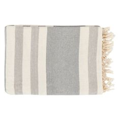 Surya Troy Smooth Stripe Throw - 50L x 70W in. Ivory / Light Gray - TOY7004-5070