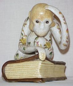 Vintage Monkey On A Book Figurine The Thinker by AuntLenoras