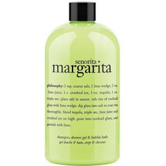 Philosophy Senorita Margarita 3 in 1 Shampoo Shower Gel and Bubble... ($18) ❤ liked on Polyvore featuring beauty products, bath & body products, body cleansers, fillers, beauty, green fillers, makeup, green, no color and bubble bath