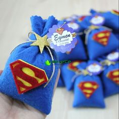 Superman lavender bag Superhero Favors, Superhero Birthday Party, 1st Boy Birthday, Birthday Parties, Superman Party, Superman Baby Shower, Spider Man Party, Avenger Party, Partys